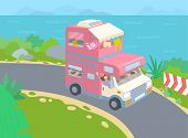Van Life Road Trip. Girl Waving From The Van. Minivan On The Serpentine Road With Sea. Vector Illust poster