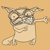 Sketch Funny Cartoon Toothy Angry Tabby Cat Paws Sideways poster