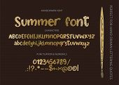 Hand Drawn Calligraphic Vector Font. Distress Letters With Texture. Modern Golden Calligraphy Type.  poster