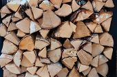 Stacks Of Firewood. Preparation Of Firewood For The Winter. Pile Of Firewood. Wooden Background. Alt poster