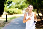 Runner Woman Jogging In Summer Fitness Workout. Running, Sport, Healthy Active Lifestyle Concept poster