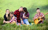 Celebrate Holiday. Summer Adventures. Hike With Guitar. Leisure In Nature. Group Friends Relaxing Pi poster