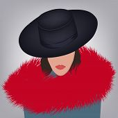 Fashionable Fur. Woman In A Hat And A Red Fur Collar - Vector. Salon Of Fur Clothes. Winter Outfit. poster
