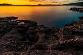 Scenic Mediterranean Sea Coast At Dusk. Croatian Adriatic Sea Scenery. poster