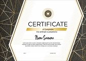 Certificate With Metallic Gold Lines On Grey Background. Modern Fashion Vertical Certificate Templat poster