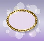 Blank Gold Frame And Backdrop With Glimmer Vector. Round Framework, Golden Oval Framing With Gems An poster