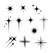 Black Flashes Vector Illustration. Glowing, Twinkling Comets On White Background. Sparkling Explosio poster