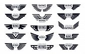 Wings Badges. Flying Emblem, Eagle Bird Wing And Winged Frame. Aviation Pilot Patch Badge, Army Insi poster