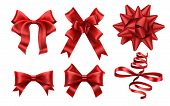 Realistic Red Bows. Decorative Xmas Gift Ribbon Bow, Christmas Or Romance Decoration Elements. Gift  poster