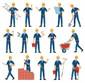 Cartoon Worker Character. Technician Workers, Builder And Mechanic. Male Workers, Engineer Foreman C poster