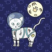 сute Kitty, Astronaut Cat, Baby Vector Illustration, Seamless Background Pattern poster