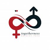 Infinite Love Concept, Vector Symbol Created With Infinity Sign And Male Mars An Female Venus Signs. poster