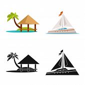 Vector Design Of Journey And Exotic Sign. Collection Of Journey And National Stock Vector Illustrati poster