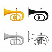 Vector Design Of Trumpet And Band Icon. Web Element Of Trumpet And Gold Stock Vector Illustration. poster