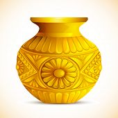 foto of kalash  - illustration of golden mangal kalash for hindu festival - JPG