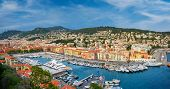 Panorama of Old Port of Nice with luxury yacht boats from Castle Hill, France, Villefranche-sur-Mer, poster