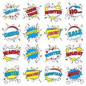 16 Comic Winter Lettering In The Speech Bubbles Comic Style Flat Design. Dynamic Pop Art Vector Illu poster