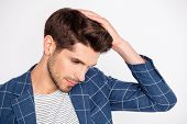 Profile Side Photo Of Pretty Man Fix His Haircut Touch Hairdo Wear Checkered Plaid Blazer Jacket Iso poster