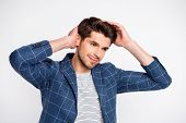 Portrait Of Minded Well-dressed Charming Man Touch His Haircut Fix Hairdo Wear Plaid Jacket Blazer I poster