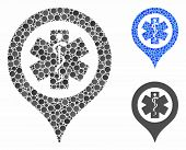 Emergency Map Marker Mosaic For Emergency Map Marker Icon Of Small Circles In Various Sizes And Colo poster