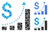Sales Growth Mosaic For Sales Growth Icon Of Filled Circles In Variable Sizes And Color Tones. Vecto poster
