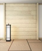 Empty Zen Room Very Japanese With Lamp And Tatami Mat Floor, Wall Wooden Design.3D Rendering poster
