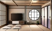 Ryokan Living Room Interior Design On Tatami Mat Floor.3D Rendering poster