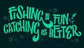 Funny Fishing Theme Phrase - Fishing Is Fun, Cathcing Is Better. Bright Hand Drawn Lettering On Dark poster