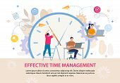 Effective Time Management Advertising Text Poster. Business People Working On Laptop. Huge Alarm Clo poster