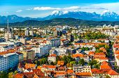Beautiful Cityscape Of Ljubljana With Picturesque Mountains On The Horizon, Slovenia poster