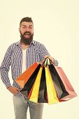 Great Choices Great Purchases. Happy Hipster Holding Purchases In Paperbags Isolated On White. Bruta poster