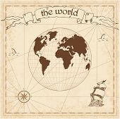 World Pirate Map. Ancient Style Navigation Atlas. Gilberts Two-world Perspective Projection. Old Ma poster