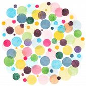 Watercolor Rainbow Colored Circles Scattered Around. Colorful Confetti Background. Abstract Watercol poster