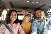 Happy Family In Car On Road Trip poster