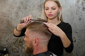 Professional Hairdresser Hair Styling Of Their Client. The Master Provides A Haircut. poster