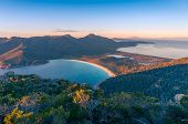 Sunrise Nature Landscape Of Beautiful Ocean Bay, Lagoon And Mountains. Wineglass Bay In Tasmania, Au poster
