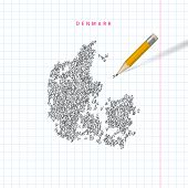 Denmark Sketch Scribble Map Drawn On Checkered School Notebook Paper Background. Hand Drawn Vector M poster