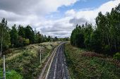 Railway In Early Autumn. Electric Railway Line The View From The Top. poster