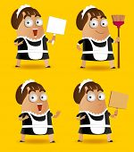 stock photo of sweeper  - Set of Maid with sweeper - JPG