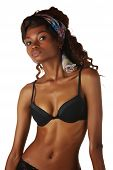 foto of anorexic  - Beautiful young black african adult woman in black lingerie isolated on a white background - JPG
