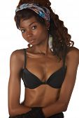 pic of anorexic  - Beautiful young black african adult woman in black lingerie isolated on a white background - JPG
