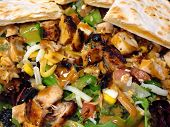 Fresh Southwestern Style Salad With Cheese Quesadilla