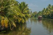 image of alleppey  - Houseboat in tropical backwaters of Kerala India - JPG