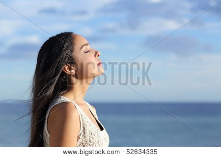 Profile Of A Beautiful Arab Woman Breathing Fresh Air In The Beach poster