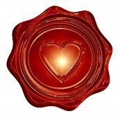 image of soulmate  - red wax seal with a heart shape on it - JPG