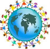 foto of holding hands  - A group of diverse and happy kids holding hands around a globe of the world - JPG