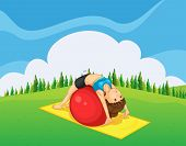 foto of hilltop  - Illustration of a young girl exercising with a bouncing ball at the hilltop - JPG