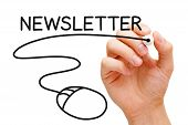 image of newsletter  - Hand sketching Newsletter Concept with black marker on transparent wipe board - JPG