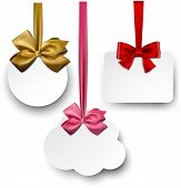 Gift cards with ribbons and satin bows. Vector illustration.