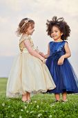 Two little girl in puffy beige and dark-blue gowns stand holding hands on grassy meadow